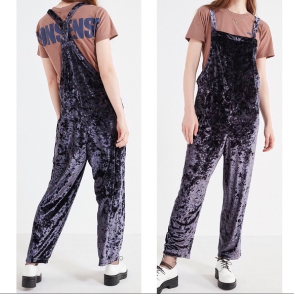 91f3fc6a35ab Shiny Crushed Velvet Overalls Overalls Jumpsuit